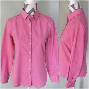 LANDS END Supima Pink White Polka Dot Button Shirt